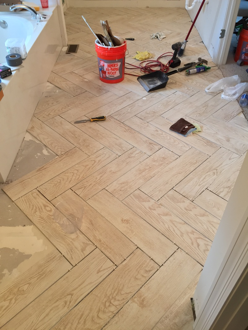 Faux wood porcelain tile, herring bone pattern