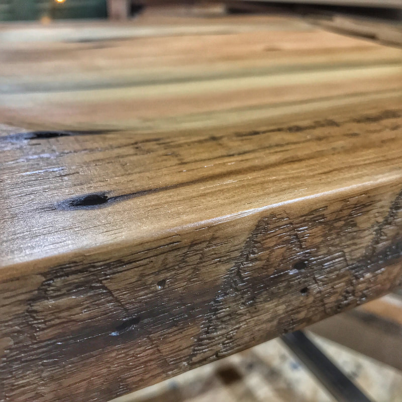 Reclaimed Wood Stool Seat Details