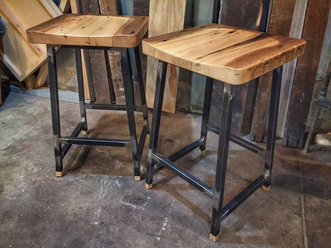 Reclaimed Wood + Steel Bar Stools