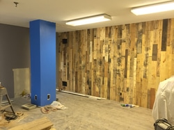 Pallet Wood Wall, In Progress